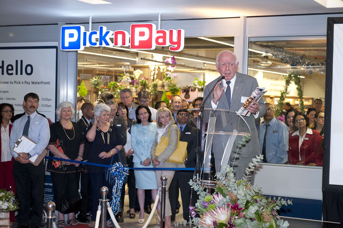 Raymond Ackerman at the opening function of PnP's new flagship store at Cape Town's V&A waterfront.