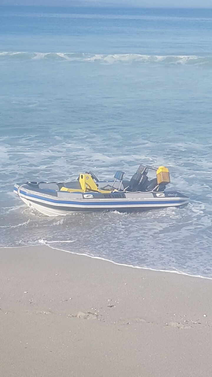 Picture by NSRI Mykonos: Shows the RIB washed up on the beach the morning