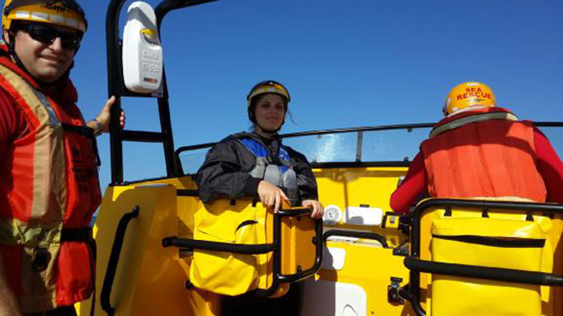 Nadia Rossouw safely on the Sea Rescue boat.