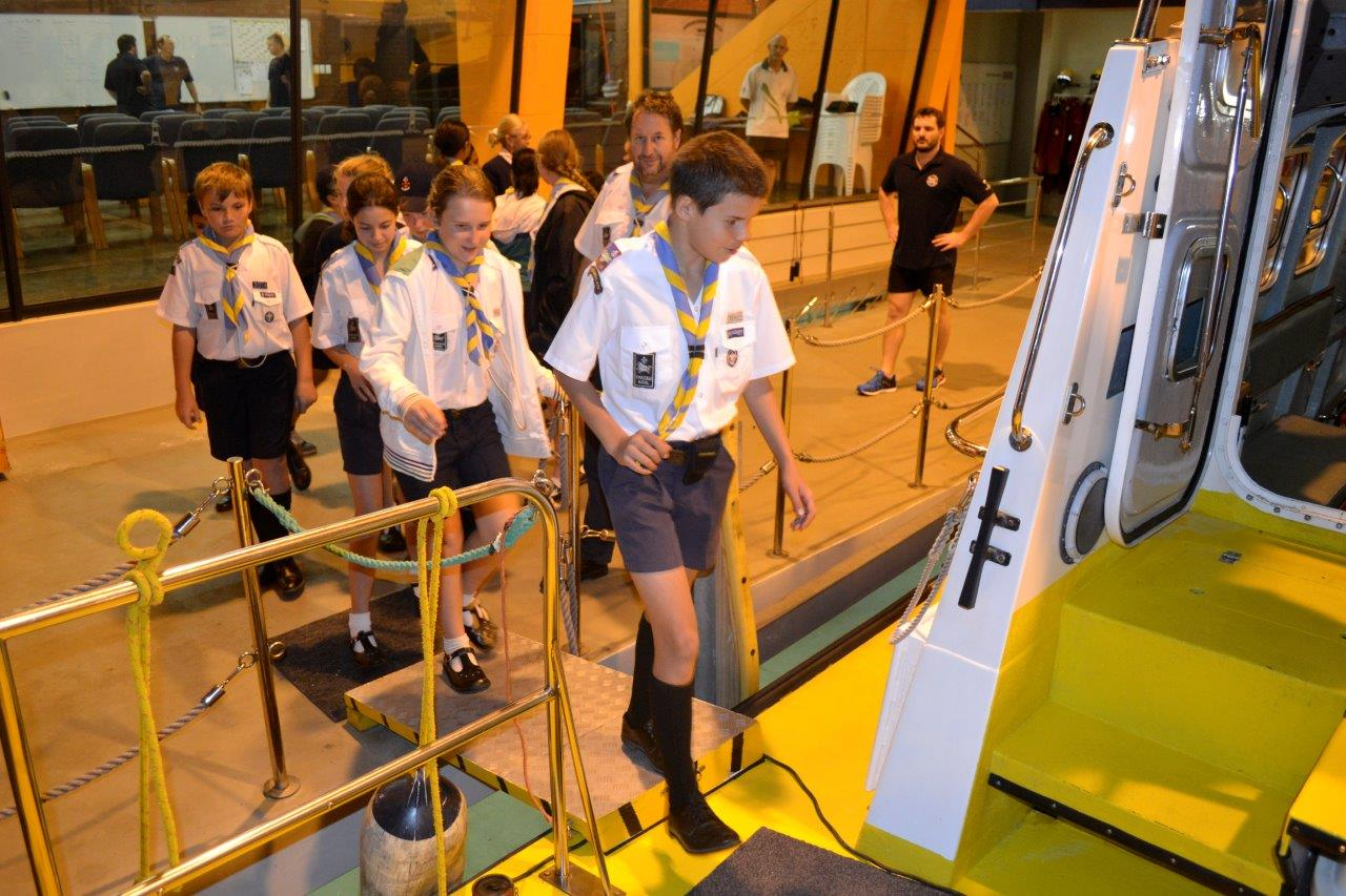 Scouts being shown around The Spirit of Richards Bay.