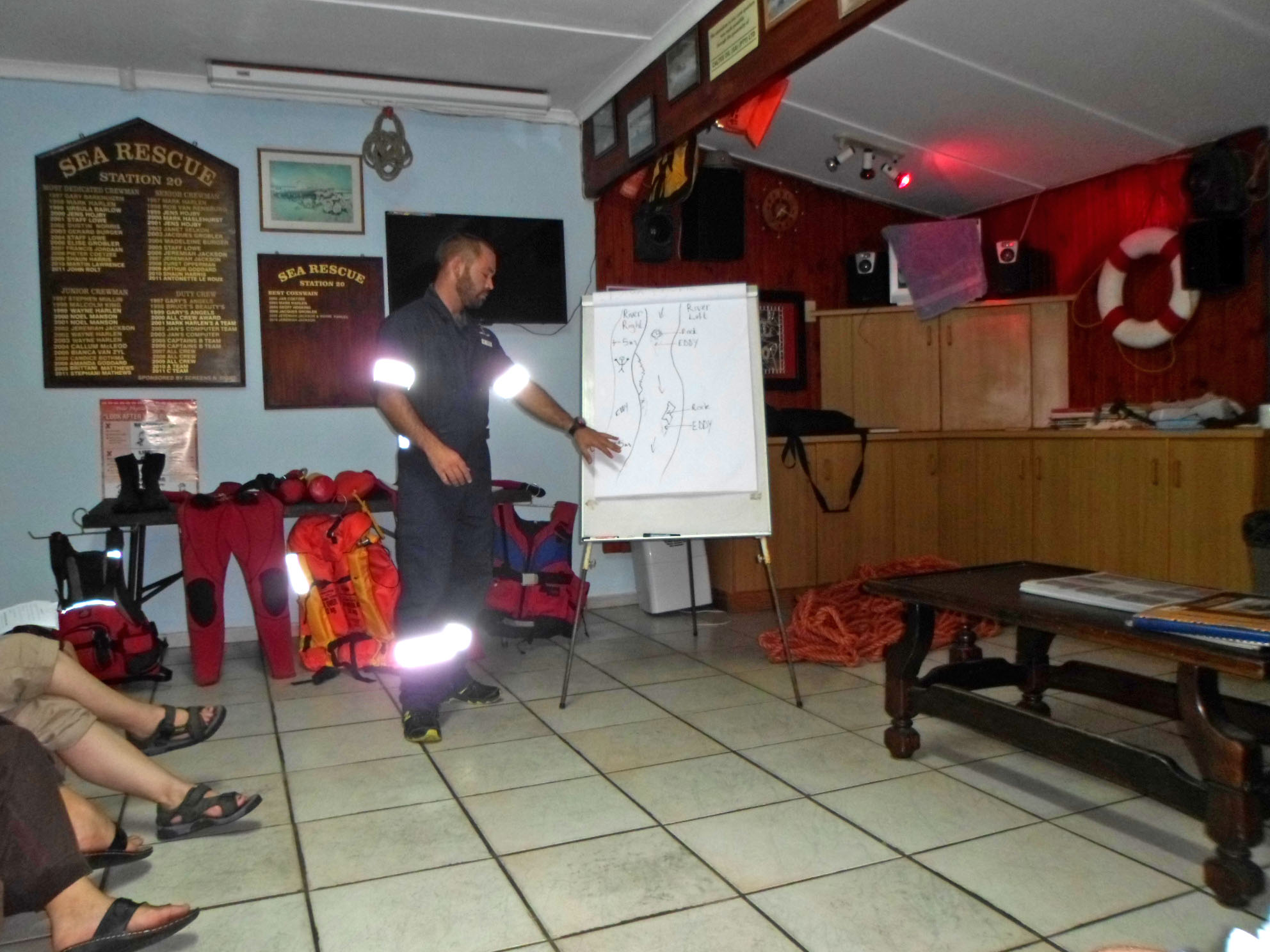 """Duty Coxswain, Jerry Jackson, explains the concepts """"River Right"""" and """"River Left"""" during swift-water training."""