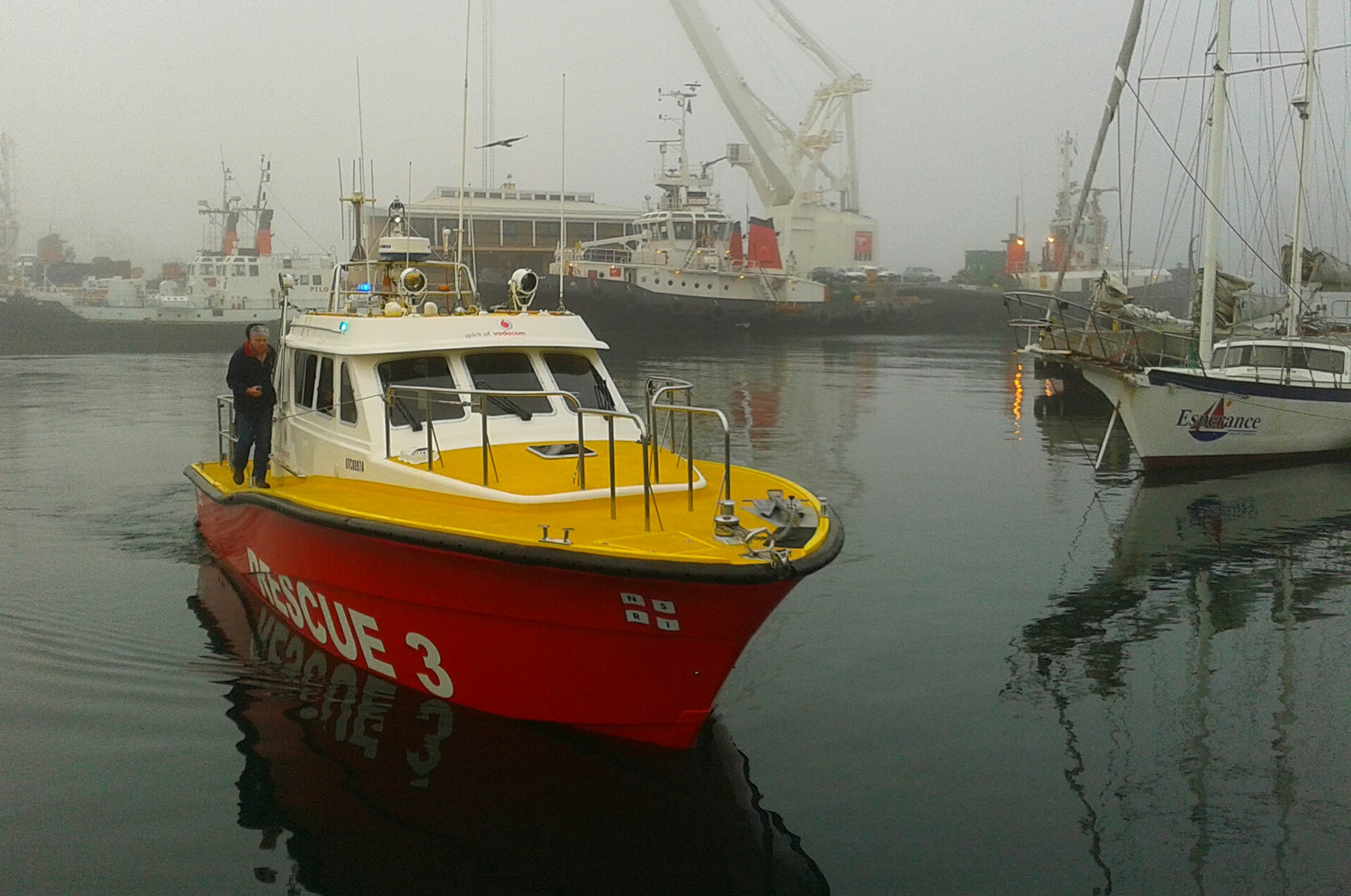 Station commander Pat Van Eyssen on the Spirit of Vodacom, the Table Bay rescue boat as it leaves the V&A Waterfront to join in the search for the missing fishermen on the West Coast. Picture Paula Leech.