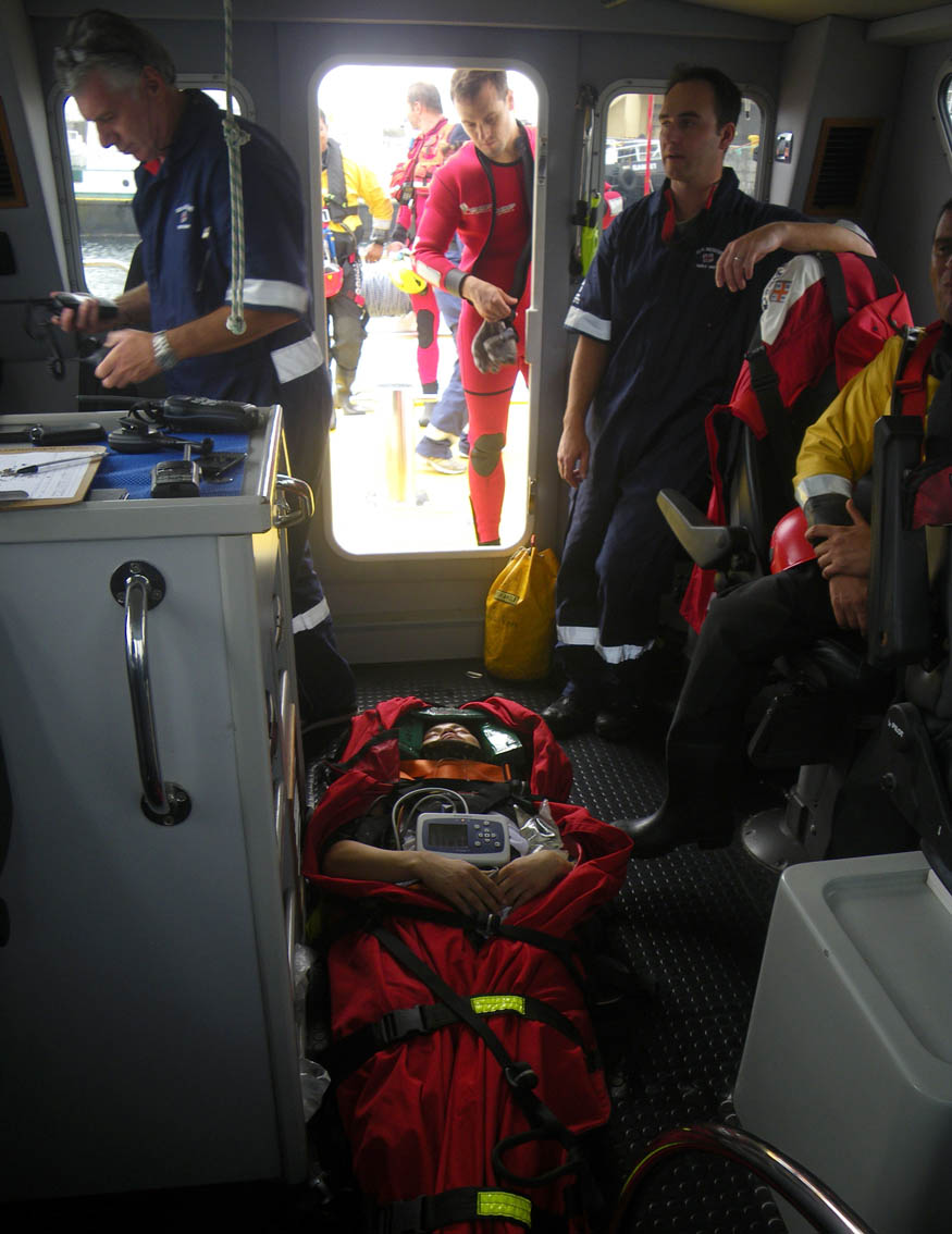 The injured sailor on the Spirit of Vodacom. Picture Paula Leech/NSRI.