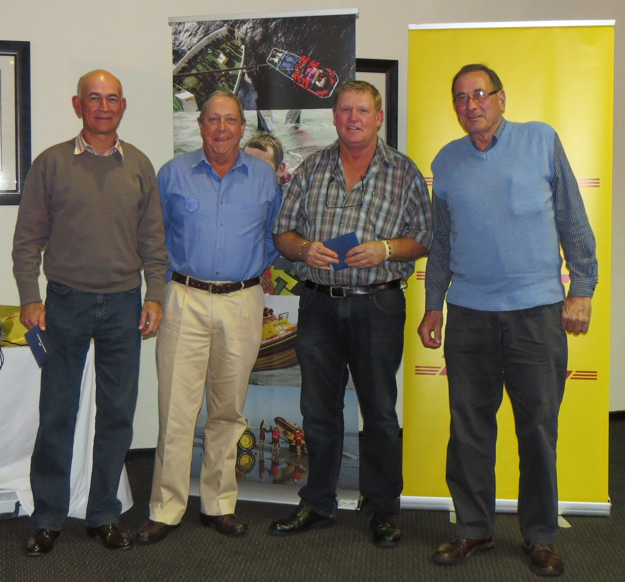 The winners - Neil James, Keith Brown & Chubby Stafford with John Edwards of The Mission to Seafarers