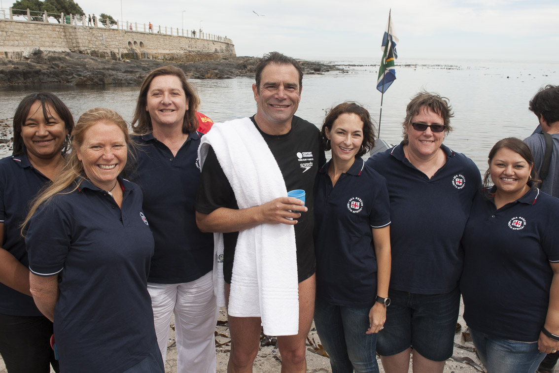 Althea, Coralie, Alison, Krista, Paula and Megan were there to meet Theodore as he completed the swim.