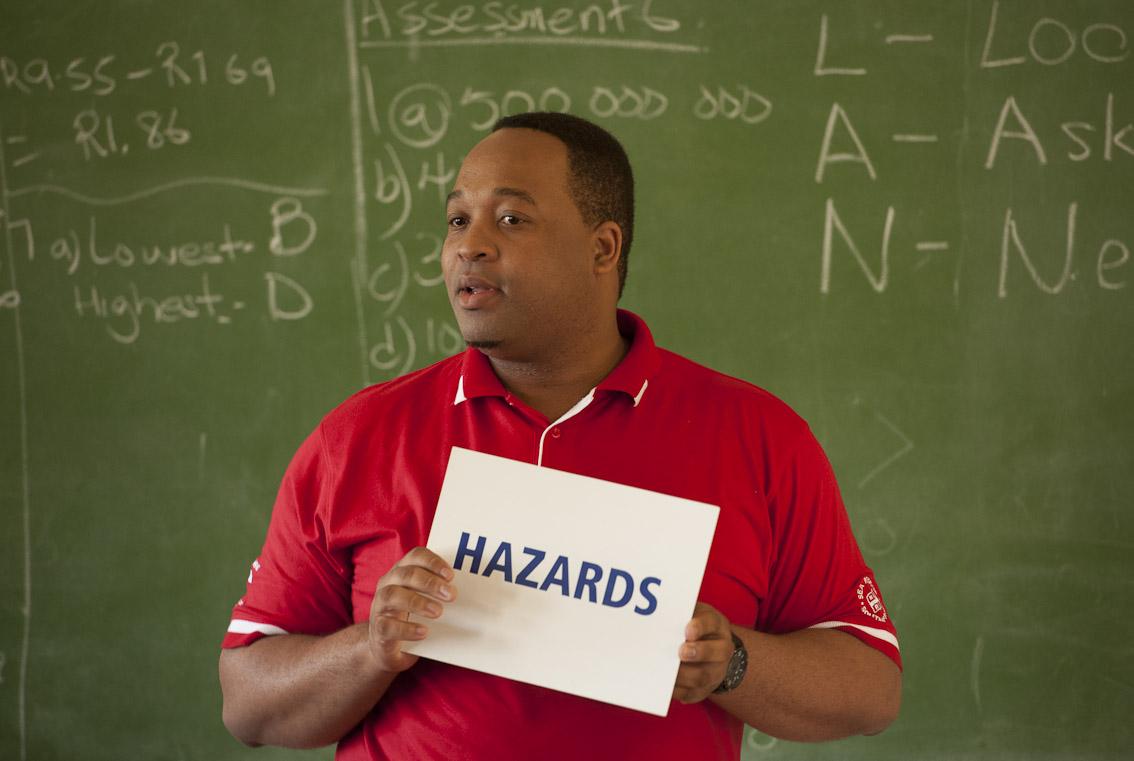 Lwazi teaches children about their safety.