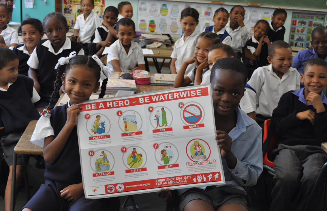 Each grade that is taught by a WaterWise Instructor is left with the colourful TNPA poster to remind them about water safety.