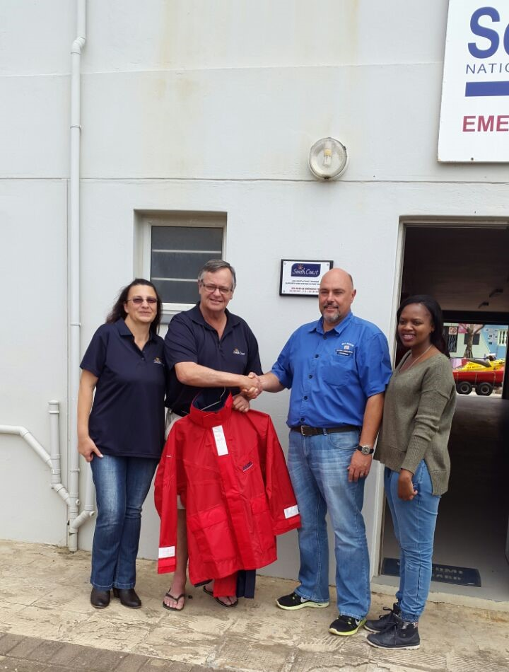 From left: Martie and Justin (South Coast Tourism), NSRI Port Edward Station Commander John Nicholas and the receptionist for South Coast Tourism