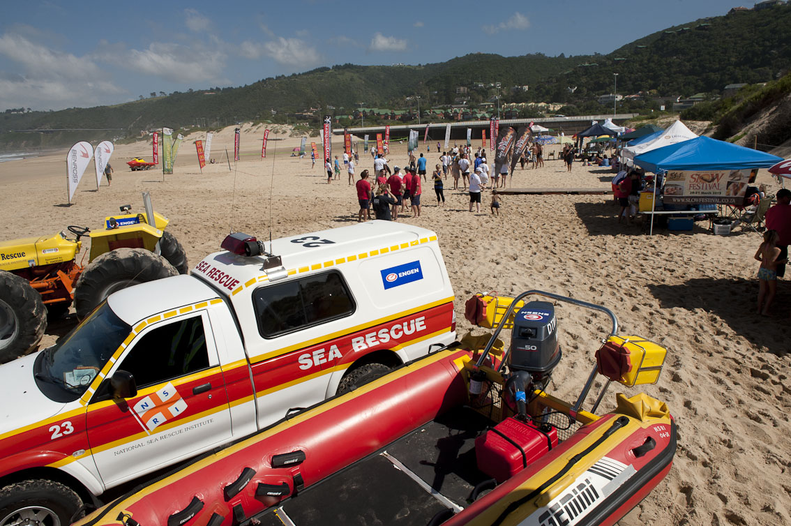 The NSRI display and beach volley ball courts.