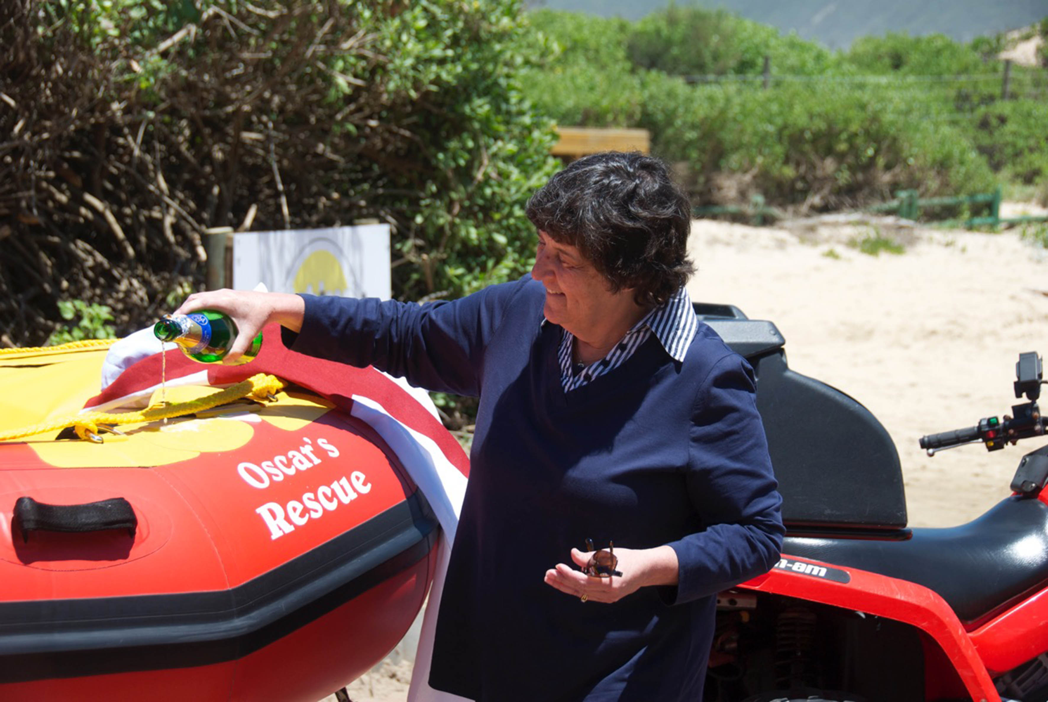 Shirley Goldstuck during the blessing of  Oscar's Rescue. Picture Torsten Henschel/NSRI.