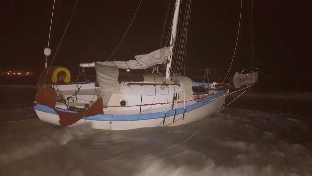 Yacht aground