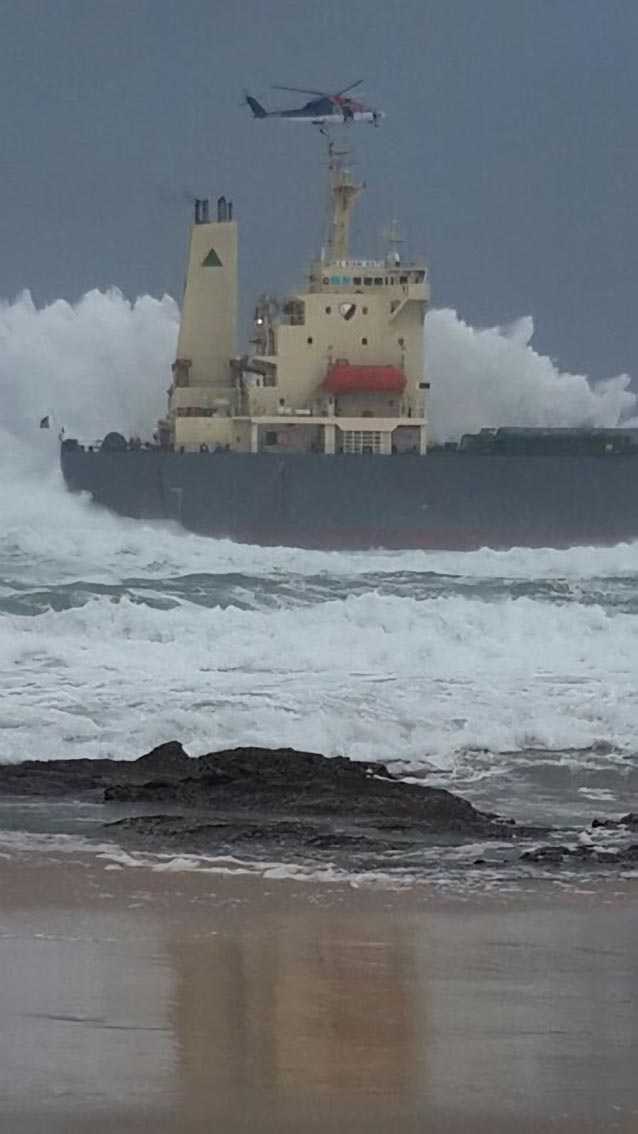 All 19 crew members were safely ashore after being rescued off the ship KIANI SATU. They were airlifted off the ship by a Titan helicopters Sikorski 76 helicopter. Picture NSRI.