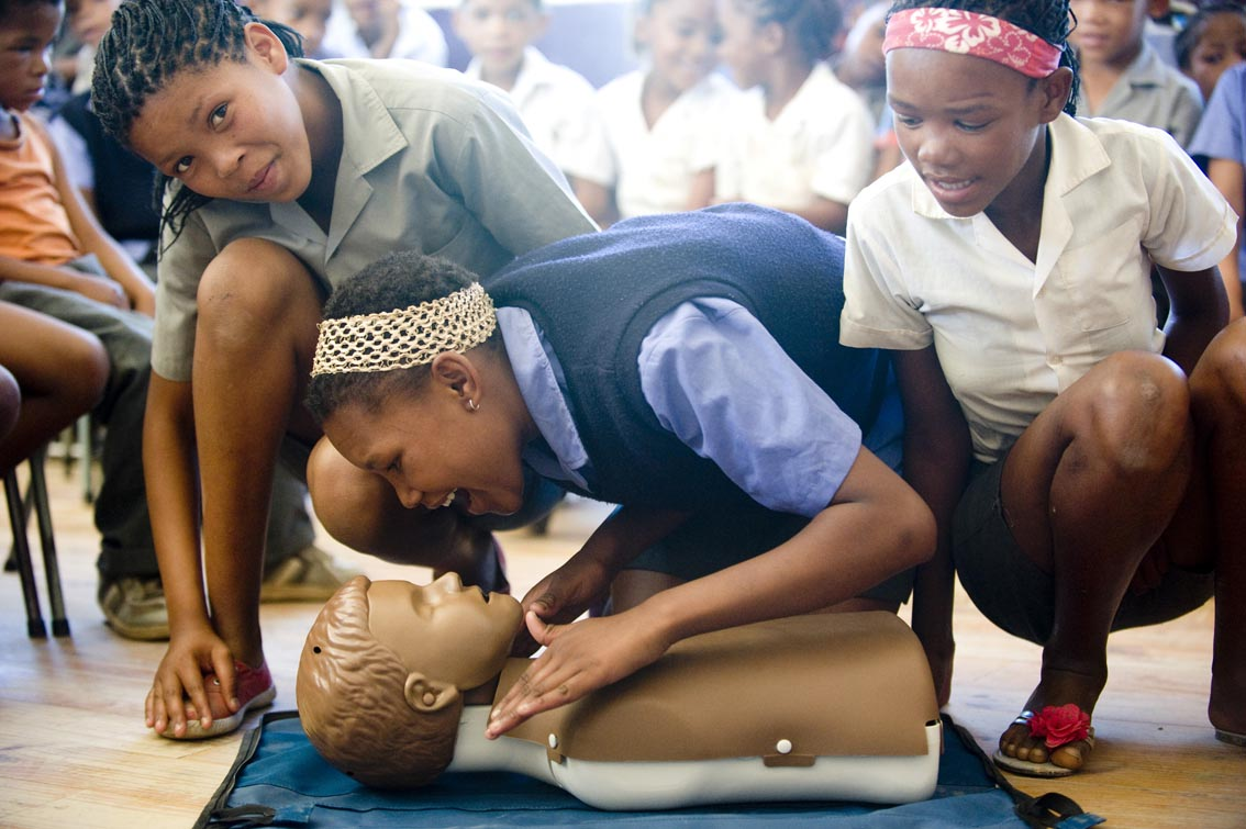 Learner from Klipdrift Primary saying Hello, before starting CPR