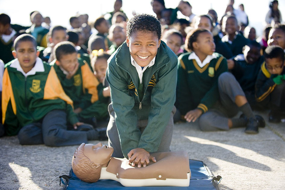 Jayden (11) from Ridgeview Primary, trying Hands On CPR