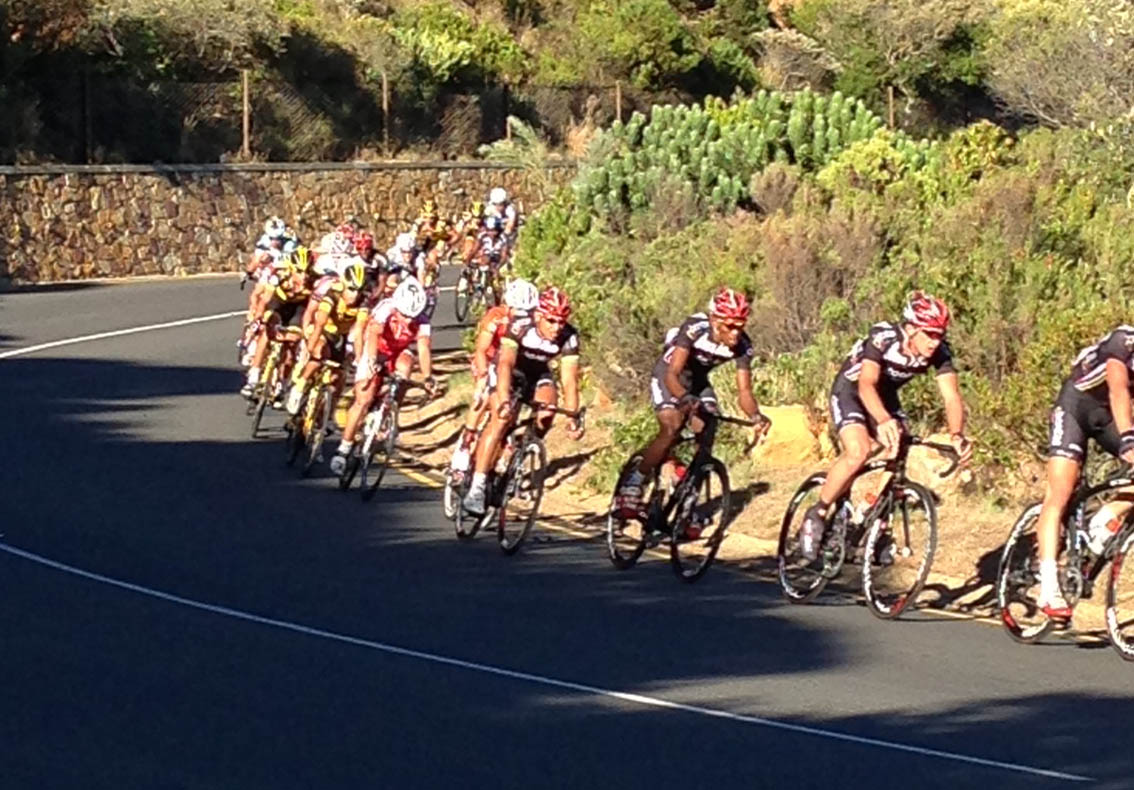 Riders on Chapman's Peak during the Argus. Picture by Bjorn Gussenhoven.