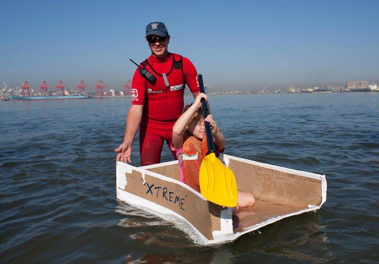Station 5 Durban's Ashley St.Clair-Laing gives a helping hand and makes sure all the competitors are home safely in Sunday's Coca-Cola Cardboard Boat Race that was the main attraction at this year's Durban International Boat and Lifestyle Show.