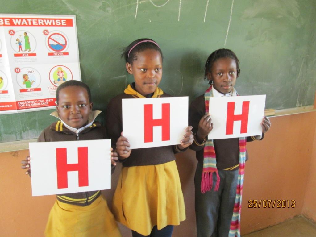 Kwacubela Combined School children learn about Hazards, Hello and Help.