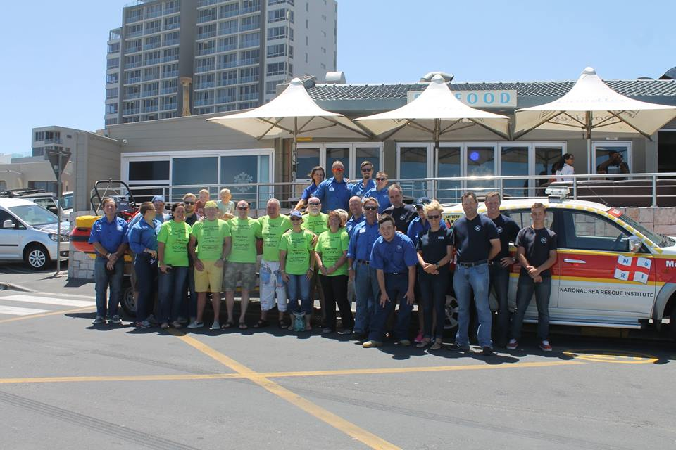 NSRI Crew Members and members of the Knights of the Missing Table outside Doodles Restaurant, Table View where the Knights handed of a cheques for R13 000 to the Melkbosstrand NSRI Rescue Station.
