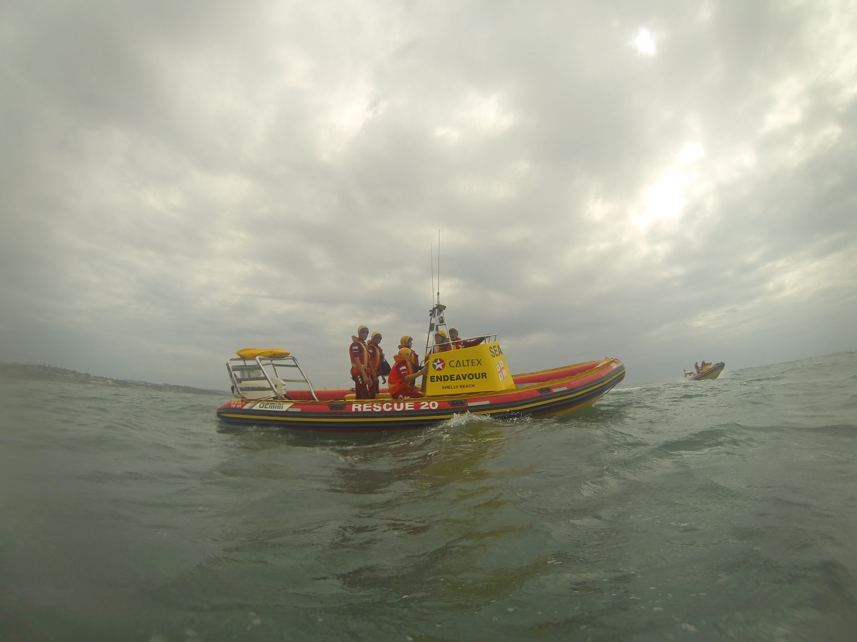 Caltex Endeavour with Caltex Challenger II in the background during a training exercise off Margate in less than ideal weather conditions.