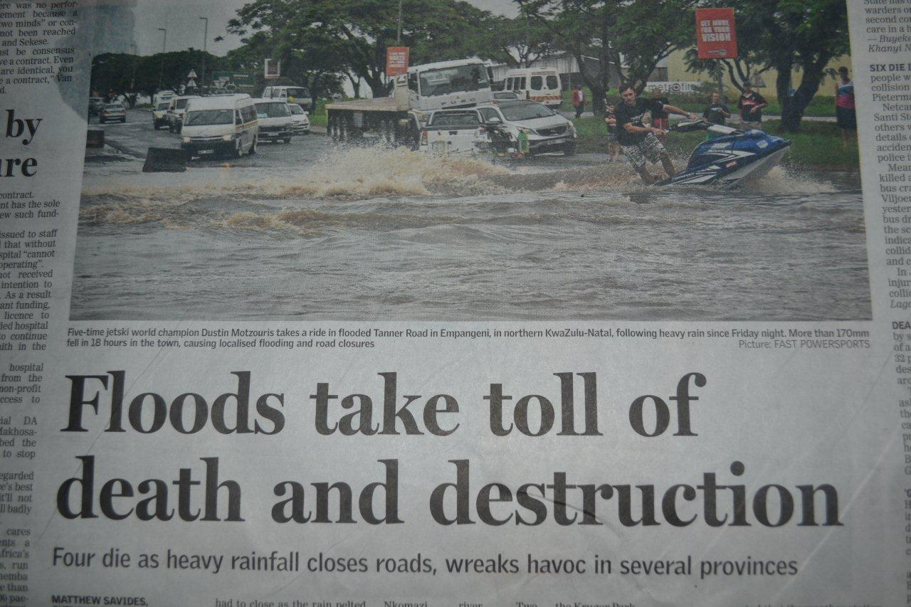 This is how the Sunday Times reported on the floods.