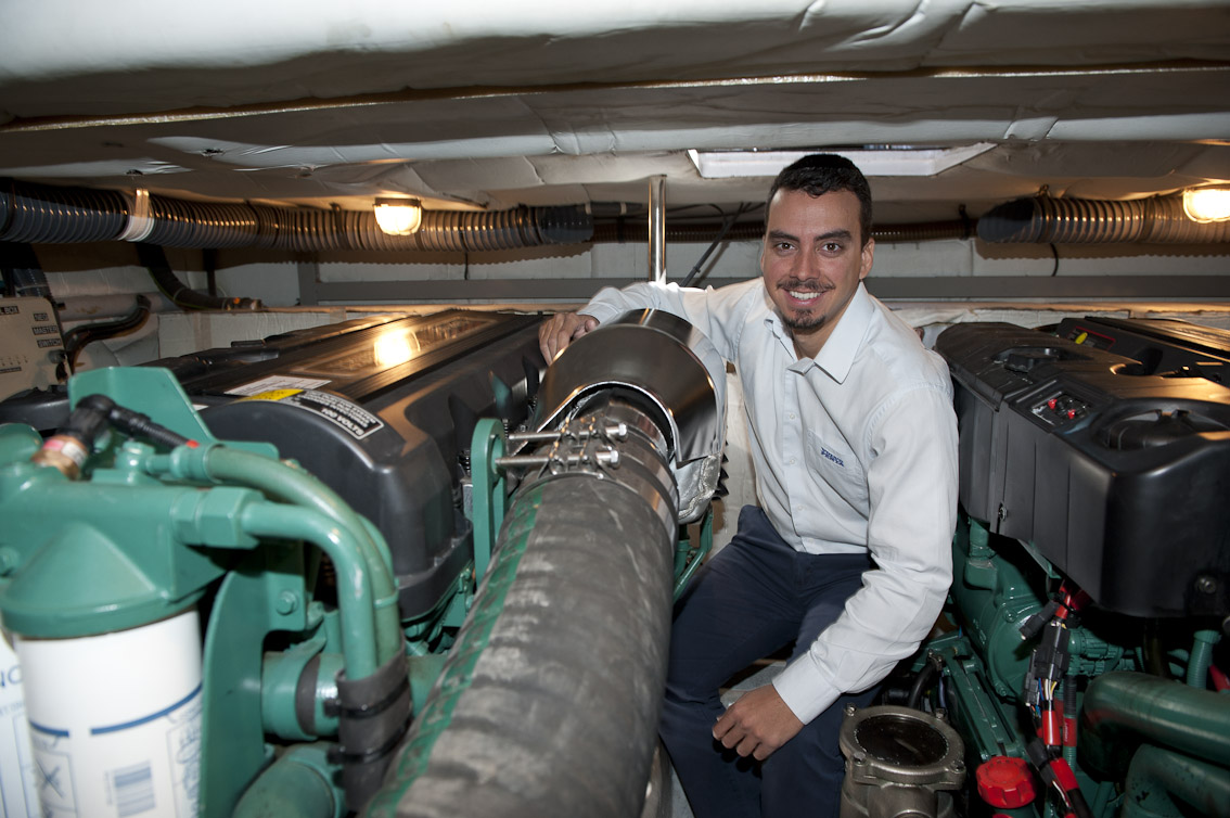 Volvo Penta's Felipe Abreu in Spirit of Vodacom's pristine engine room.